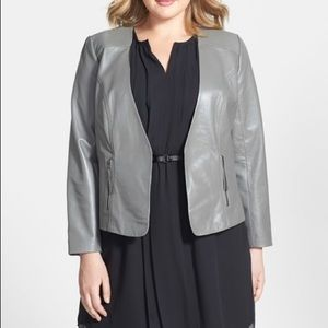 Sejour Leather Jacket Zippered Pockets Open Front